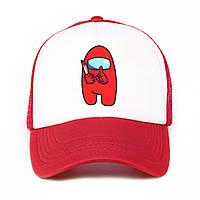 Дитяча кепка з сіткою і принтом Among Us Red, фото 1