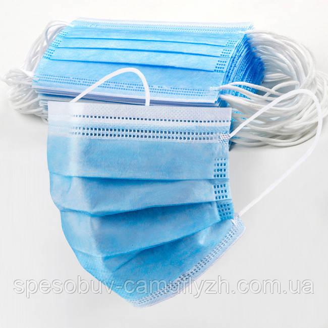Упаковка 100 штук Маска медична тришарова на гумках блакитна Україна Якість