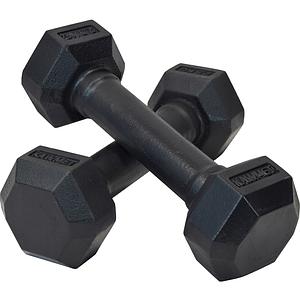 Гантель чугунная шестигранная гексагональная KAWMET 2 по 2,5 кг