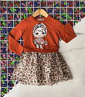 Детское расклешенное платье-обманка КУКЛА для девочки 2-5 лет,кирпичное с леопардовым