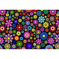"""Фетр с рисунком цветочный принт """"Цветы абстракция"""" ЦП017, фото 1"""