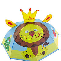 """Маленький детский зонтик-трость с ушками """"Тигренок"""" на 2-6 лет, голубой, 471-FL-1"""