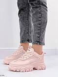 ТОЛЬКО на 25,5 см! Кроссовки женские розовые/ коралловые эко-кожа+ текстиль, фото 5