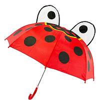 """Маленький детский зонтик-трость с ушками """"Божья коровка"""" на 2-6 лет, красный, 471-FL-2"""