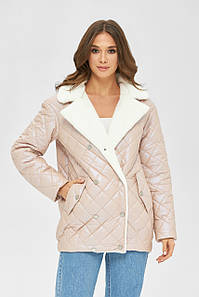 Стьобана куртка демісезонна з перламутровою плащової тканини 42,44,46,48,50,52 розмір