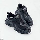 Стильные кроссовки женские черные на платформе 6 см эко-кожа+ текстиль, фото 3