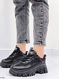 Стильные кроссовки женские черные на платформе 6 см эко-кожа+ текстиль, фото 2