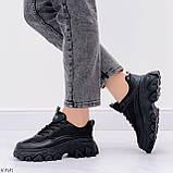 Стильные кроссовки женские черные на платформе 6 см эко-кожа+ текстиль, фото 4