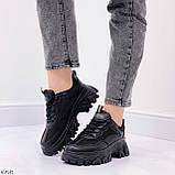 Стильные кроссовки женские черные на платформе 6 см эко-кожа+ текстиль, фото 5