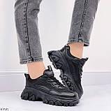 Стильные кроссовки женские черные на платформе 6 см эко-кожа+ текстиль, фото 6