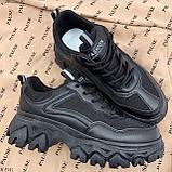 Стильные кроссовки женские черные на платформе 6 см эко-кожа+ текстиль, фото 7