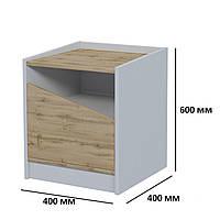 Модульная прикроватная тумбочка Unity P 1S для комнаты подростка с ящиком дуб тахо / белая аляска