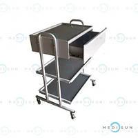 Столик медицинский процедурный СМ-3-2Н MEDNOVA, столик манипуляционный передвижной
