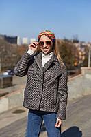 Весенняя женская стеганая куртка короткая Mila Nova К-192 серого цвета, размеры 42-46