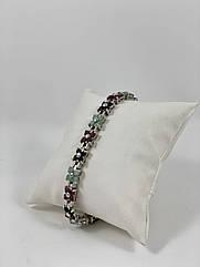 Браслет срібний з сапфіром,рубіном і берилію