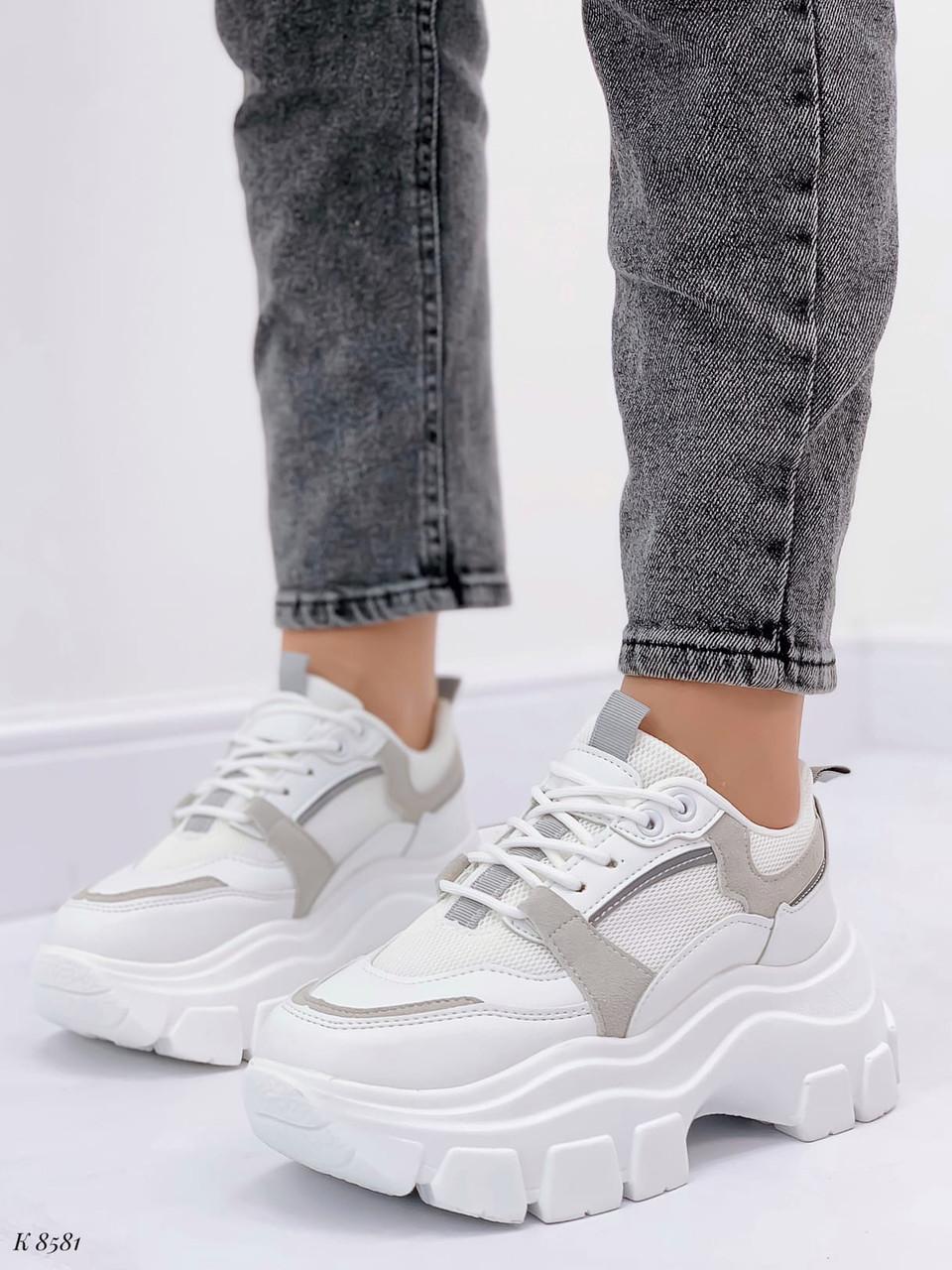 Кроссовки женские белые с серым на платформе 6,5 см эко-замш + эко кожа + текстиль