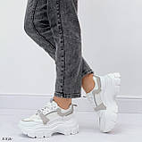 Кроссовки женские белые с серым на платформе 6,5 см эко-замш + эко кожа + текстиль, фото 2