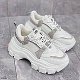Кроссовки женские белые с серым на платформе 6,5 см эко-замш + эко кожа + текстиль, фото 4