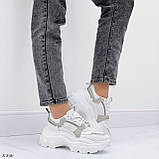 Кроссовки женские белые с серым на платформе 6,5 см эко-замш + эко кожа + текстиль, фото 3