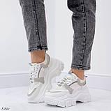 Кроссовки женские белые с серым на платформе 6,5 см эко-замш + эко кожа + текстиль, фото 6