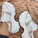 Кроссовки женские белые с серым на платформе 6,5 см эко-замш + эко кожа + текстиль, фото 5