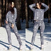 Женский спортивный костюм из двунитки под джинс с потертостями
