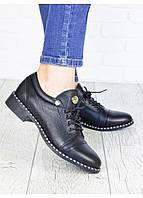 Кожаные качественные черные женские туфли, р36-40