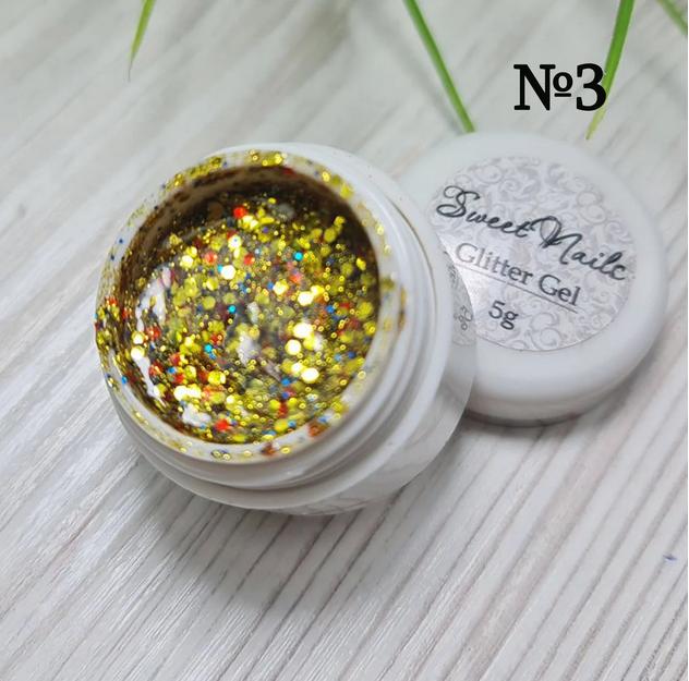 Глиттерный гель для ногтей золото Sweet Nails №3 5г