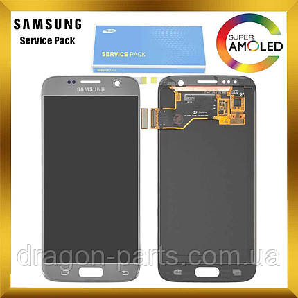 Дисплей Samsung G930 Galaxy S7 з сенсором Silver Срібний оригінал , GH97-18523B, фото 2