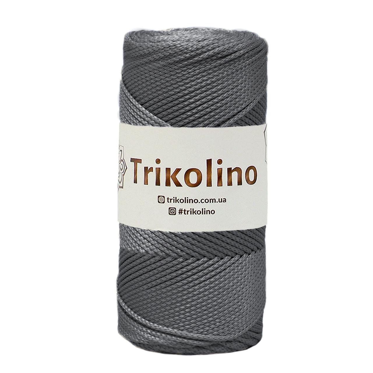 Шнур поліпропіленовий Макраме Trikolino. Сірий. 200г, 230м, 2-3 мм