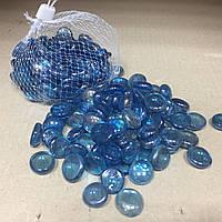 Камни для декора стеклянные голубые 380 гр