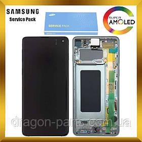 Дисплей Samsung G973 Galaxy S10 с сенсором Зеленый Green оригинал, GH82-18850E