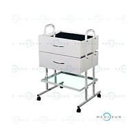 Стол манипуляционный медицинский, столик процедурный передвижной с 2 ящиками СМ-3-2 Завет