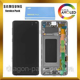 Дисплей Samsung G973 Galaxy S10 с сенсором Черный Black оригинал, GH82-18850A