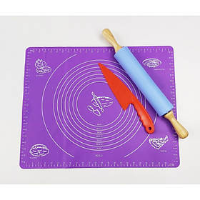 Набор силиконовых принадлежностей 3 предмета (силиконовый коврик, скалка, нож пластиковый) A-PLUS / 7