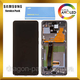 Дисплей Samsung G988 Galaxy S20 Ultra с сенсором Серый Cosmic Grey оригинал , GH82-22271B