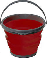 Комплект: Складное ведро силиконовое круглое Silicon Bucket 10л + 5л вместе дешевле красное для кемпинга
