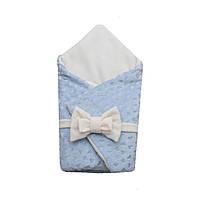 Конверт-ковдра (трансформер) для виписки з пологового плюшеві сердечка блакитний