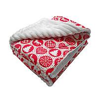 Ковдра плед для новонародженого з плюшу, ковдру для дитини в пологовий будинок червоне Орнамент червоний рождествеский