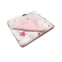 Ковдру для новонародженого на весну, плед для малюка у візок Зірочки сірі і рожеві