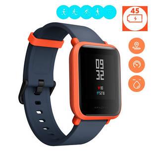 Смарт часы умные фитнес GPS водостойкие Xiaomi Huami Amazfit, оранжевые