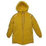 Яскрава стильна підліткова куртка з плащової тканини демисезон на дівчинку з капюшоном весна-осінь від виробника, фото 3