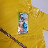 Яскрава стильна підліткова куртка з плащової тканини демисезон на дівчинку з капюшоном весна-осінь від виробника, фото 9