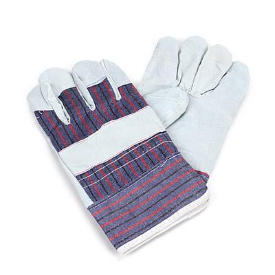 Перчатки спилковые комбинированые замшевые