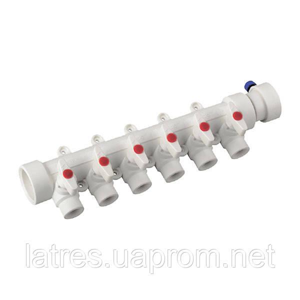 Коллектор 6-way с шаровыми кранами (40-20) PPR KOER