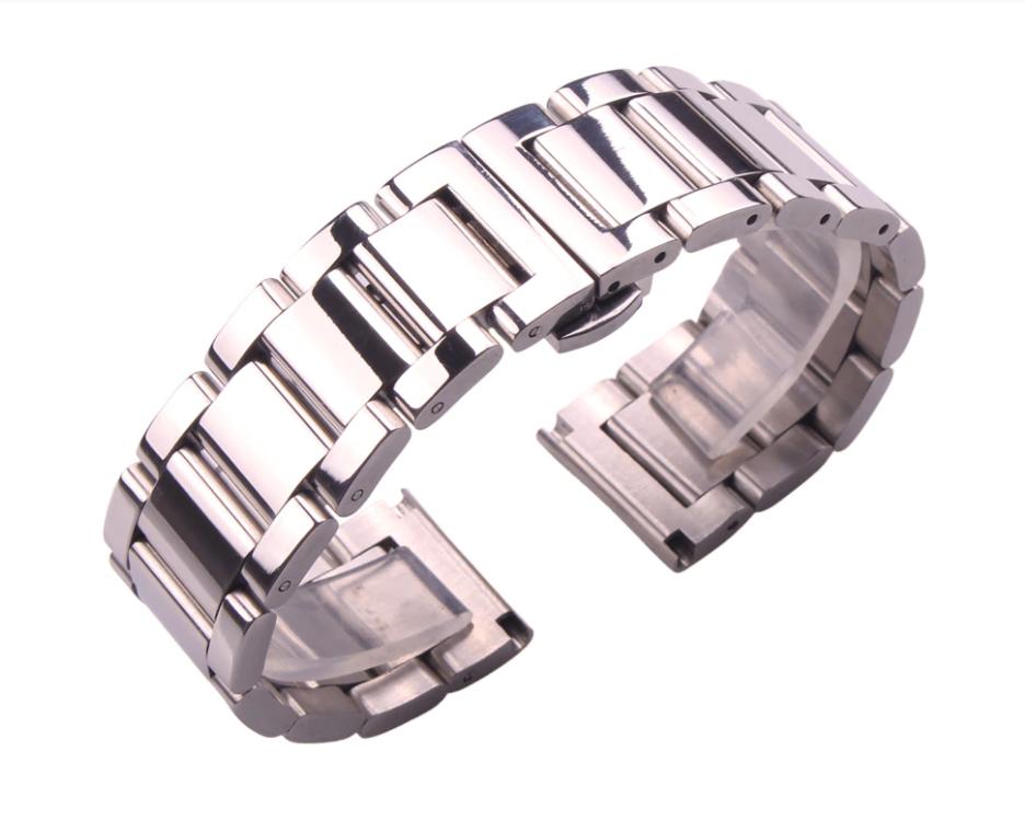 Браслет для часов из нержавеющей ювелирной стали 316L, литой, глянец. 22 мм