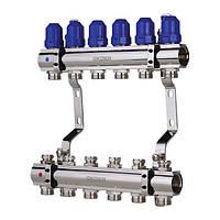 """Коллекторный блок с термостатическими клапанами KOER 1100-06 1""""-6 WAYS"""