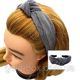 Обідок чалма для волосся велюрова сіра
