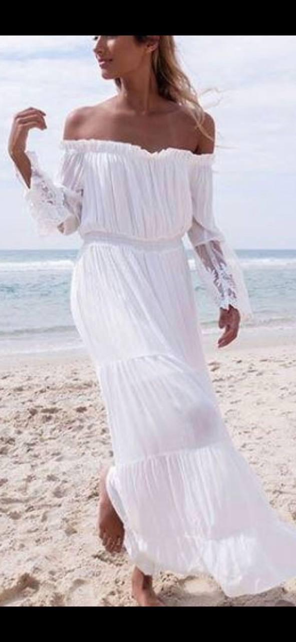 Платье пляжное белое длинное