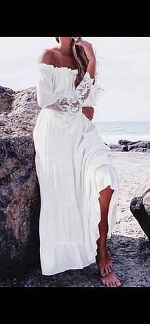 Платье пляжное белое длинное, фото 2